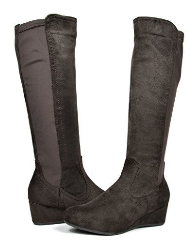 DREAM PAIRS LEVVE Women's Fashion Elastic Panel Fur Interior Low Wedge Knee High Boots Brown Size 10