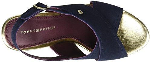 Tommy Hilfiger E1285del 6b, Sandalias con Cuña para Mujer Azul (Tommy Navy 406)