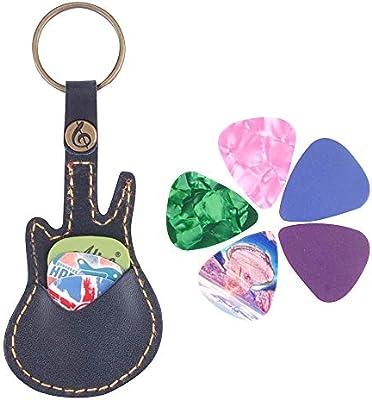 Funda de piel para púas de guitarra, llavero con púas de guitarra, bolsa con 3 púas de guitarra, Guitar Pick Case-Black