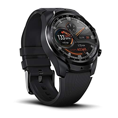 Ticwatch Pro 4G/LTE Smartwatch, 1G RAM Memory, Sleep Tracking, Swim-Ready, Dual Display for Long Battery Life, Music, Heart Rate, GPS, NFC, Cellular Connectivity for Vodafone Users