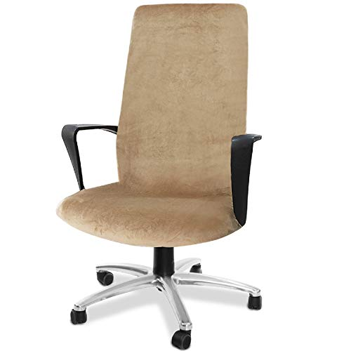 CAVEEN Computer Office Chair Cover Stretch Velvet Fabric Rotating Chair Slipcovers Removable Washable Anti-dust Chair Seat Covers Furniture Protector Covers Coffee Velvet Large