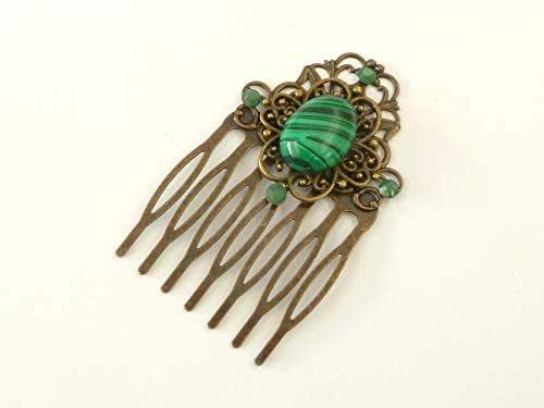 Pequeño peine de piedras preciosas con malaquita en bronce verde