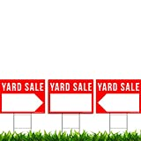 3 Pack Yard Sale Signs Kit - Double Sided Signs & Metal H-Stakes - Red Property Signs 24'x18' - Great for Garage or Yard Sales - High Visibility Signs with Directional Arrows