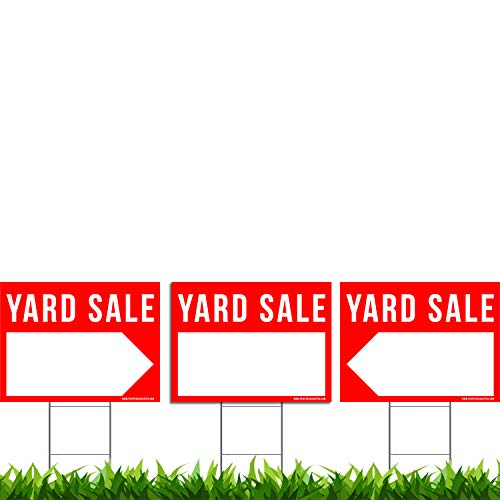 3 Pack Yard Sale Signs Kit - Double Sided Signs & Metal H-Stakes - Red Property Signs 24x18 - Great for Garage or Yard Sales - High Visibility Signs with Directional Arrows