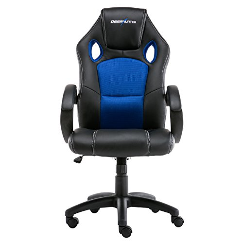 Deerhunter Gaming Chair, Leather Office Chair, Ergonomic Racing Chair, Adjustable Computer Desk Swivel Chair - Blue