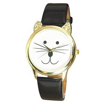 Orejas de gato reloj de pulsera para mujer correa de piel colour negro sin números Rhinestone: Amazon.es: Relojes