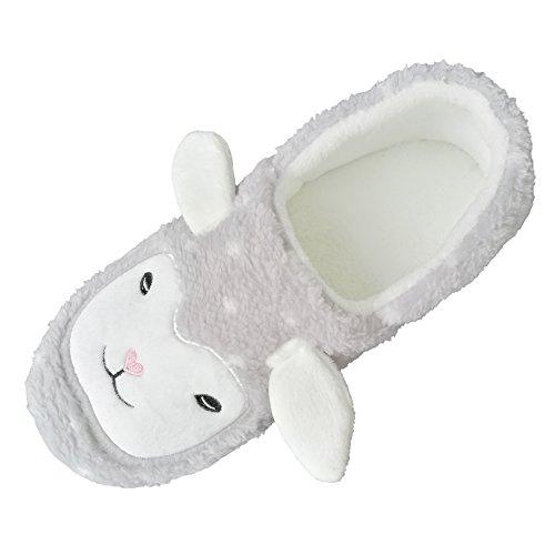 Lining Cute Shoes Sheep Warm Plush Slippers Womens bestfur Grey Soft Home q6TAxwIWFn