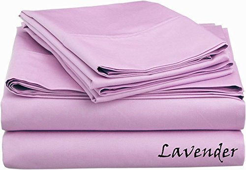 - Reliable Bedding 100% Pima Cotton Sheet Set, 500 TC - High Qyality 18'' Deep Pockets-Easy Fit-Breathable & Cooling Sheets-Wrinkle & Fade Resistance- (Lilac/Queen)