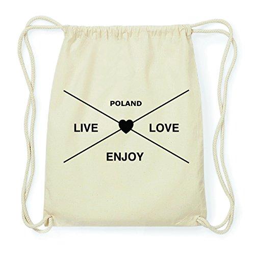 JOllify POLAND Hipster Turnbeutel Tasche Rucksack aus Baumwolle - Farbe: natur Design: Hipster Kreuz