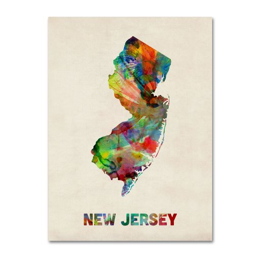New Jersey Map by Michael Tompsett, 14 by 19-Inch Canvas Wall Art