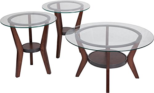 Contemporary 3 Piece Occasional Glass Round Top Living Room Table Set with Dark Brown Finish (Accent Round 22' Table)