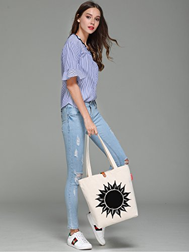 So'each Women's Ink Sun Flower Graphic Top Handle Canvas Tote Shoulder Bag
