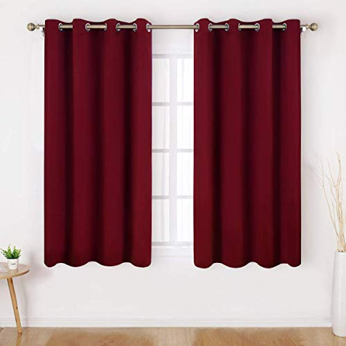 HOMEIDEAS Blackout Curtains - 2 Panels Burgundy Room Darkening Curtains/Drapes, Thermal Insulated Solid Grommet Window Curtains for Bedroom & Living Room, 52 x 45 Inches