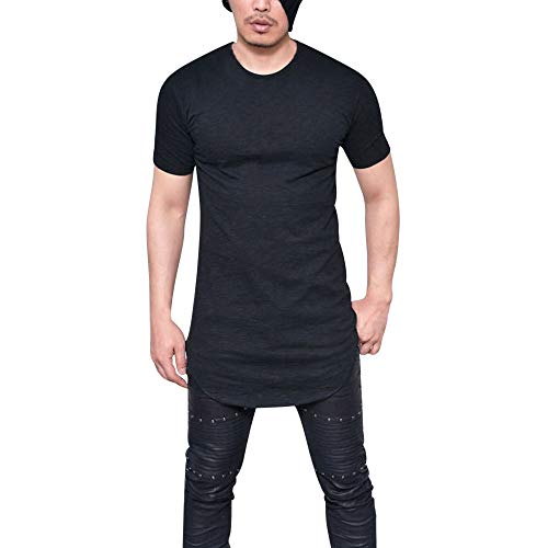 (TIFENNY Men Solid Color Shirt Summer Slim Fit O Neck Short Sleeve Muscle Tee T-Shirt Casual Tops Blouse New Black)