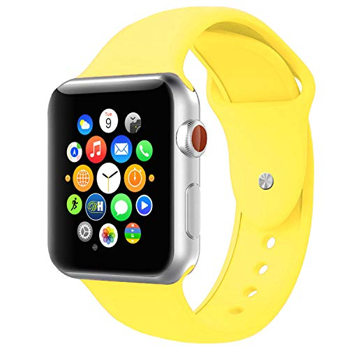 BOTOMALL Compatible with Apple Watch Band 38mm 40mm 42mm 44mm Classic Silicone Sport Replacement Strap Bracelet for iWatch All Models Series 4 Series 3 Series 2 Series 1 (Pollen Yellow,38/40mm S/M)