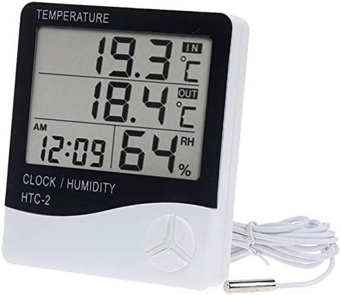 Vaorwne Innen Digital Thermometer Haus Hygrometer, Genaue Aussen Temperatur Monitor, Feuchtigkeit Messen Indikator Thermometer für Zimmer mit Wecker