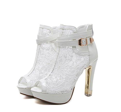 Ferse in Hohem Cool und für LIANGXIE Stiefel Kurzstiefel Bankett für Weiß Zhzz Sexy Sandalen Farbe mit Mädchen Bequeme Absatz für Damen Reiner Stiefel XqqFzUR