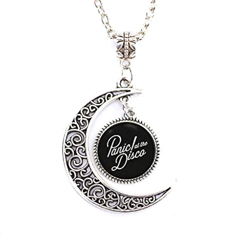 Charm Crescent Moon Panic! at The Disco Band Logo Pendant Necklace]()