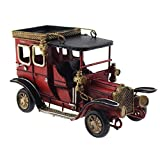 Tipmant Iron Vintage Car Model Home Desktop Decoration Classic Antique Metal Crafts Handmade Collectible Vehicles (Red)