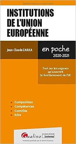 Book's Cover of Institutions de l'union européenne (Français) Broché – 15 juillet 2020