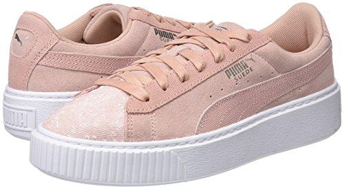 Peach Mujer para Puma Beige Wn's White Beige puma Platform Zapatillas Pebble Suede SSUpH
