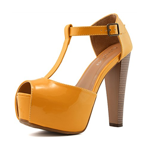 DailyShoes Women's Peep Toe Platform Sandal Pumps Open Toe Ankle Buckle T-Strap Extreme Evening Party Dress Casual Shoes, Orange PT, 10 B(M) US (Toe Heels Peep T-strap)