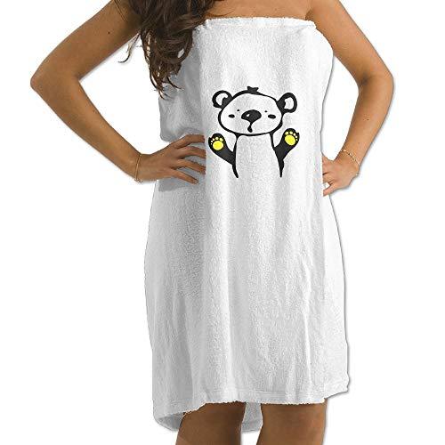 Bear Bath Teddy Robe (Teddy Bear- 9 Prints Bath Towel Wrap Womens Spa Shower and Wrap Towels Swimming Shawl Bathrobe Cover Up for Ladies Girls - White)