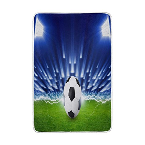 QAZYS Throw Blanket Soft Warm Home Decor Abstract Sport Soccer Field for Bed Couch Sofa Lightweight Travelling Camping for Kids Boys Girls 60 x 90 Inch by QAZYS