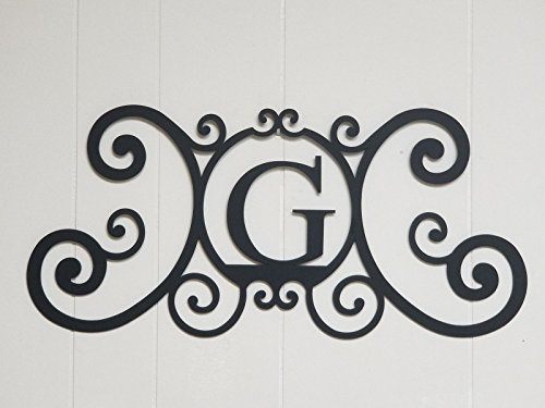 Bookishbunny Monogram Initial Letter A-Z Wrought Iron Metal Scrolled Door Wall Decoration Plaque Art, 24 x 11 inch 2mm Thick (Monogram Wall)