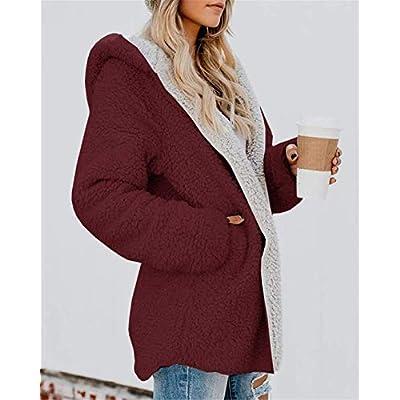 ReachMe Womens Oversized Sherpa Jacket Fuzzy Fleece Teddy Coat with Pockets Open Front Hooded Cardigan at Women's Coats Shop