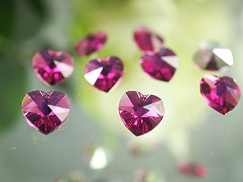 6202 Swarovski Heart Pendant Beads - 2 pcs Swarovski 6202 Crystal Heart Pendants 10,3x10mm, Fuchsia AB