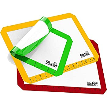 Silicone Baking Mats - Set of 3 - Baking Mats Non Stick Silicone BPA Free with Measurements - 2 Half Sheet Baking Liners and 1 Quarter Sheet Pan Silicone Mat by Silchef