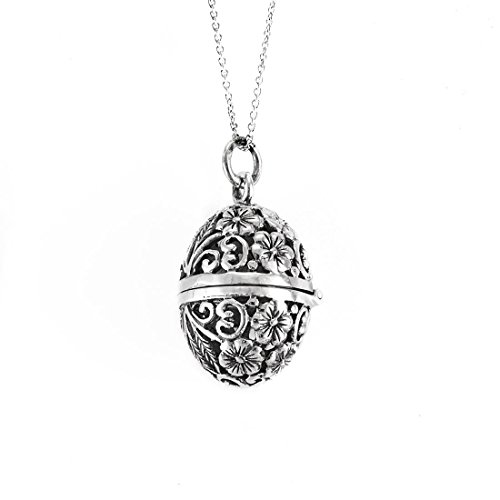 Silverly Women's .925 Sterling Silver Filigree Faberge Locket Chain Necklace, 46 cm - Open Filigree Designer Pendant Charm