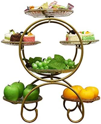 MQW Fruit Plate High-Grade Multi-Layer Dessert Cookies Candy Plate Shelf Afternoon Tea Center Display Shelf 3052cm Delicate and Beautiful (Color : Gold)
