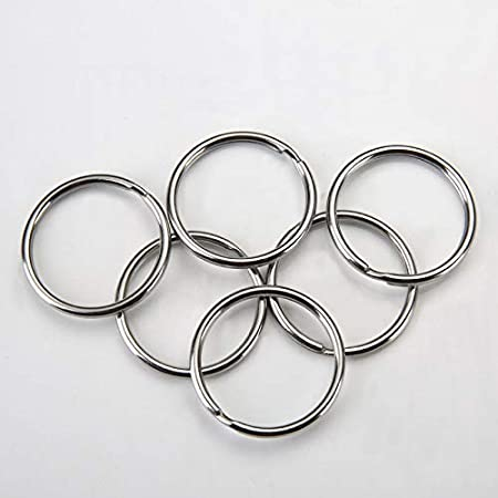 KINGFO 200PCS Split Key Ring with Chain and Jump Rings Nickel Plated Split Key Ring with Chain Silver Color Metal Split Key Chain Ring Parts with 1inch//25mm Open Jump Ring and Connector.
