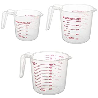 Measuring Cups,Nesting Stackable Plastic Measuring Cups 3 Piece Set,Include 1 Cup,2 Cup and 4 Cup with Ml and Oz Measurement,Highly Transparent PP Material,Non-toxic,Non-odor,Light Texture,Easy to Use