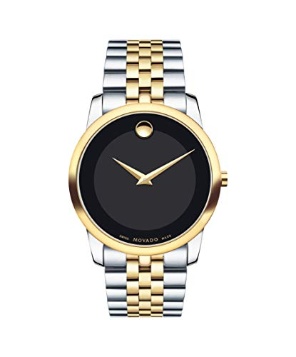 Movado Men's Museum Two Tone Watch with Concave Dot Museum Dial, Gold/Black & Brown Strap (606899)