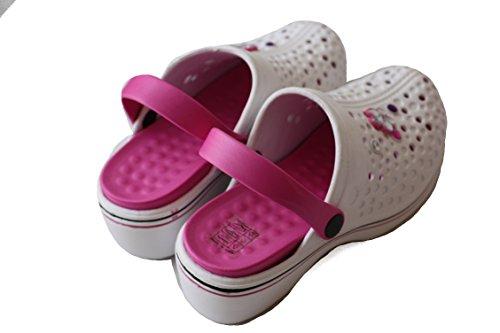 Damen Clogs Gartenclogs Badeschuhe Hausschuhe Sabot Pantolette COLA261 WEISS-PINK