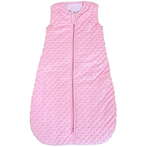 """Baby sleeping bag """"Minky Dot"""" rose, quilted and double layered, 2.5 Togs (Medium (10 - 24 mos))"""