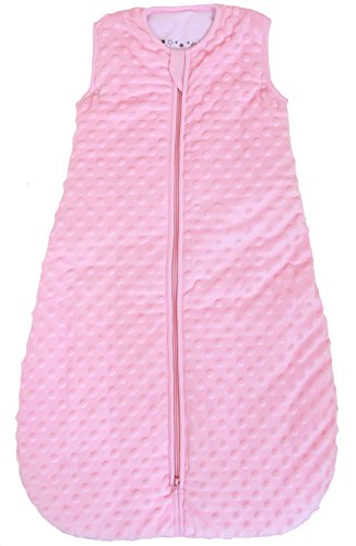 "Baby Sleeping Bag ""Minky Dot"" Rose, Quilted Winter Model, 2.5 Togs (Small (3 - 11 mos))"