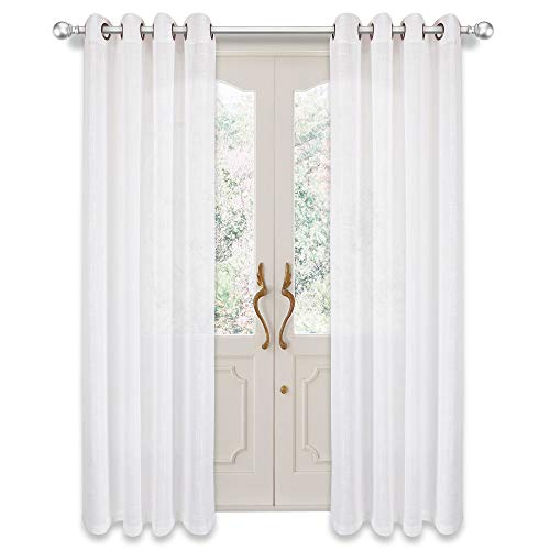 VOILYBIRD Palma Linen Textured Semi Sheer Curtains for Living Room 84 Inches Long Draperies & Curtains Bronze Grommet for Patio Door (52''W x 84''L, 2 Panels, White) ()