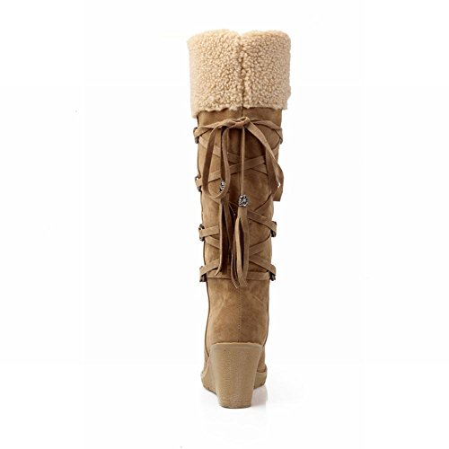 Carolbar Vrouwen Lace-up Mode Winter Namaakbont Elegantie Warme Sleehak Sneeuw Laarzen Geel