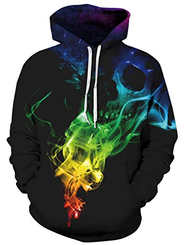 TUONROAD Mens Cool 3D Digital Printed Hooded Pullover Black Colorful Red Orange Yellow Green Turquoise Blue Skull Hip Hop Atheletic Hot Awesome Hoodie Sweatshirt Outwear Designs with Big Pocket Front