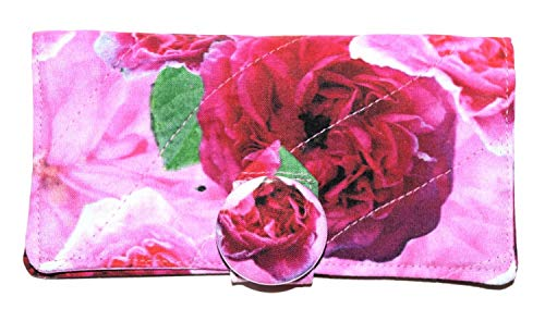 Old English Tea Roses Quilted Checkbook Cover,Matching Fabric Covered Metal Button, Pink Roses