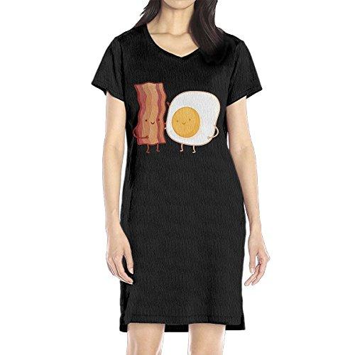 Womens Bacon Dress (Hoeless Bacon And Egg Women's Short Sleeve Casual T-Shirt Dress XLBlack)