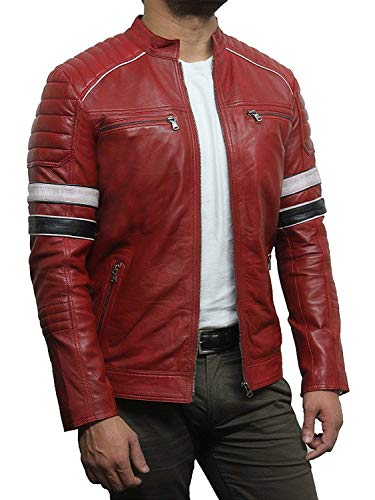 (Brandslock Mens Casual Red Leather Biker Racing Jacket Genuine Lambskin (M, Red) )