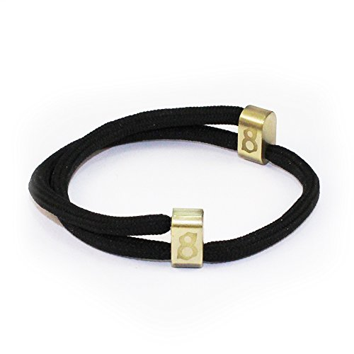st8te Men's & Women's Adjustable Rope Bracelets - Black Rope (Bronze Slider) Jet Gold Bracelets