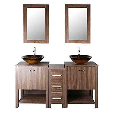 "Brown 60"" Bathroom Vanity Cabinet Double Sink Vessel Sink w/Mirror Faucet and Drain"