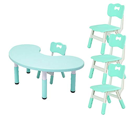 ZH Adjustable Height Kids Children Table and Chairs,Toddlers Half-Moon Plastic Activity Table for Classrooms, Daycares, Playgrounds, Green, Pink