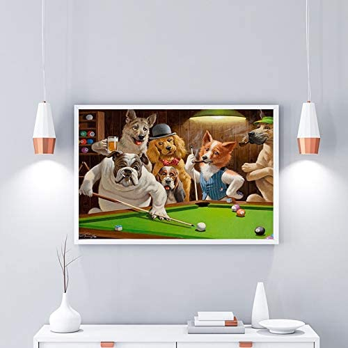 ganlanshu Pintura sin Marco Moderno Lienzo Perro Jugando Billar Dios Pintura al óleo Artista decoración del hogarCGQ8314 50X90cm: Amazon.es: Hogar